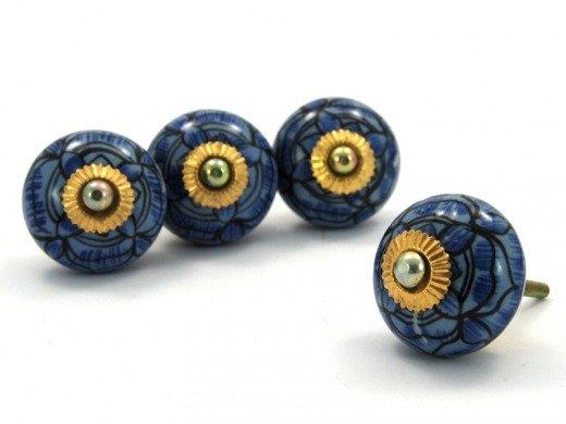 Gałka Do Mebli Ceramiczna Uchwyt Indie Rękodzieło Niebieska Wzc