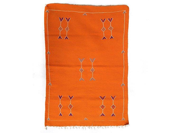 Kilim Z Maroko 150 Cm X 96 Cm Pomarańczowy Wełna Dywan